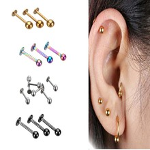 5Pcs/lot 16G 18G Tragus Helix Bar 3-4mm Ball Stainless Steel Labret Lip Rings Stud Cartilage Ear Piercing Body Jewelry