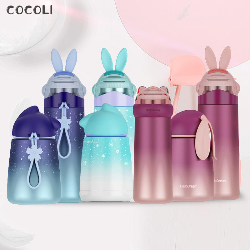 Vacuum Flask Stainless Steel Rabbit Cartoon Portable Thermos Insulated Bottle