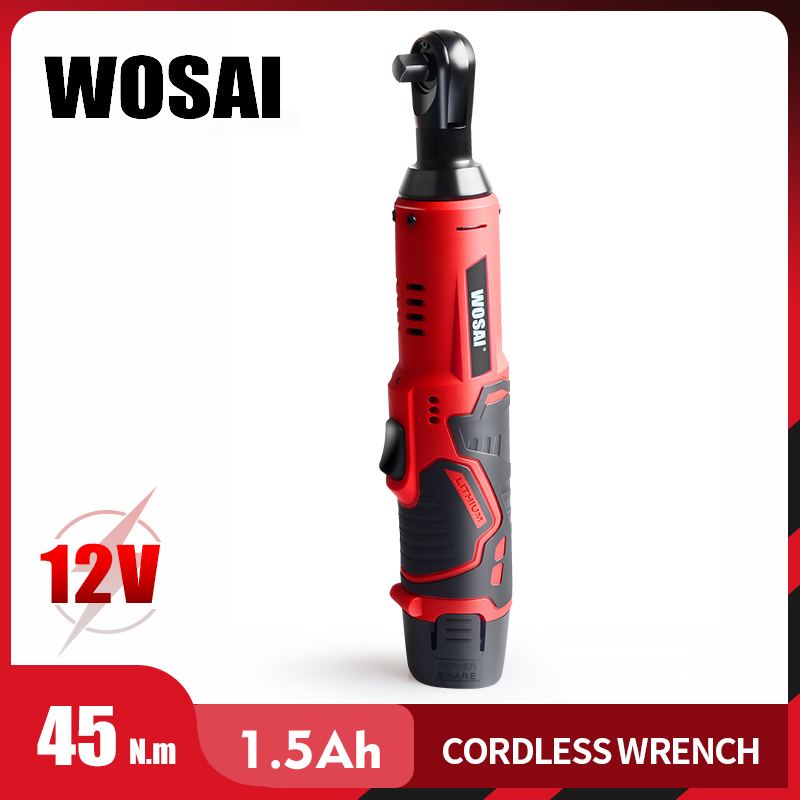 WOSAI 12V Electric Wrench Kit 3/8 Cordless Ratchet Wrench Rechargeable 45NM Torque Ratchet Power Tools