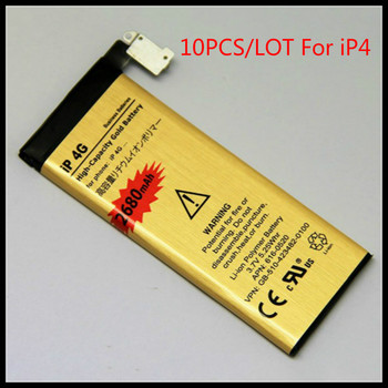 10pcs/lot High capacity For bateria iphone 4 golden Battery for iPhone 4 Battery iP4G