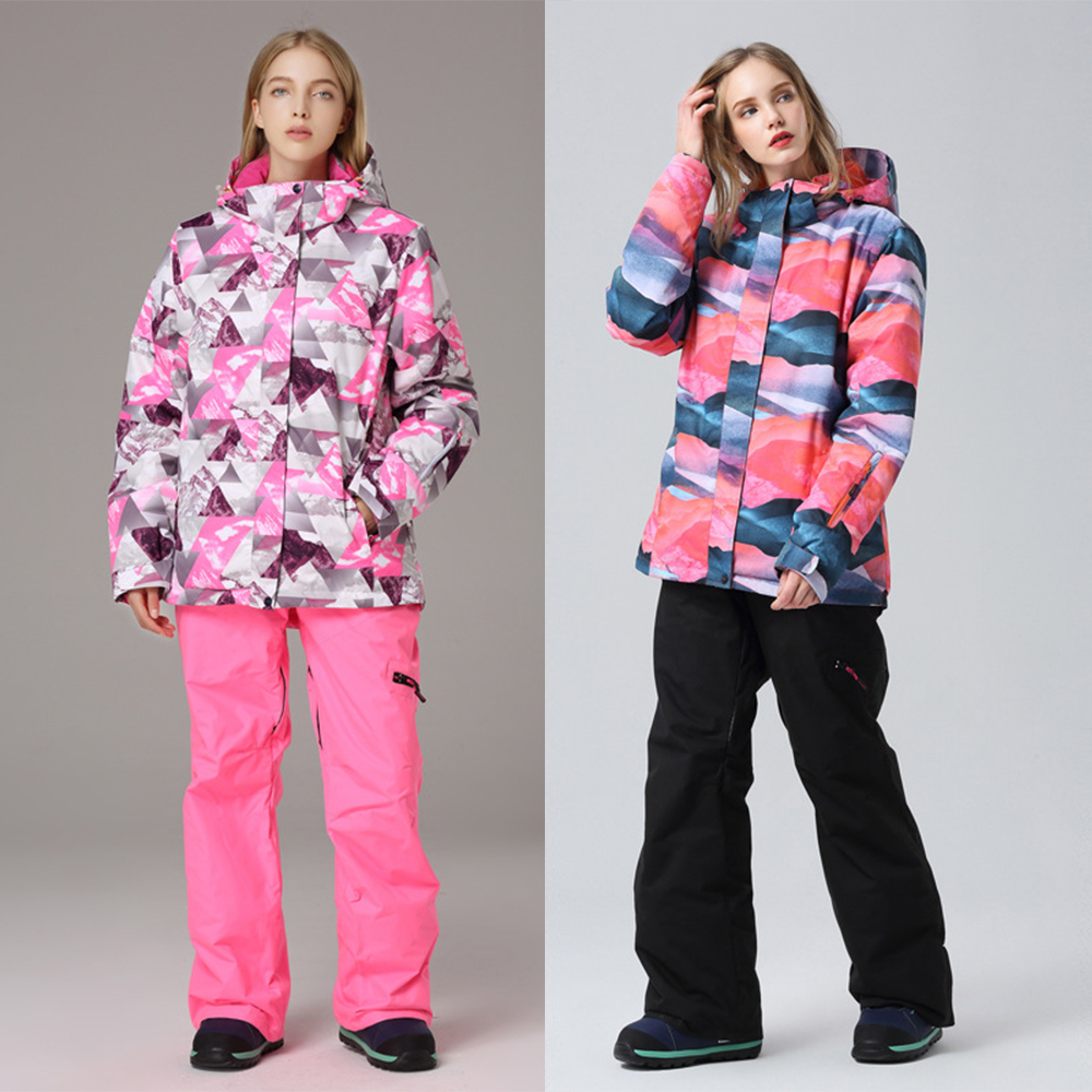 Warm Ski Sets Women Waterproof Windproof Skiing and Snowboarding Jacket Pants Winter Suit Female Snow Costume Outdoor SportWear