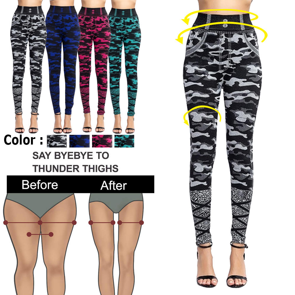 High Waist Imitation Jean Leggings Slim Elastic Seamless Plus Size 3XL Skinny Pencil Pant Female Workout Running Leggings