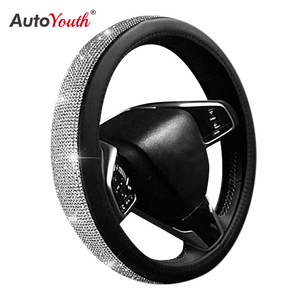 PU Leather Car Steering Wheel Cover Hand Sewing Fashion Breathable Skidproof Cystal Steering Wheel Cover 15inch Black & Silver