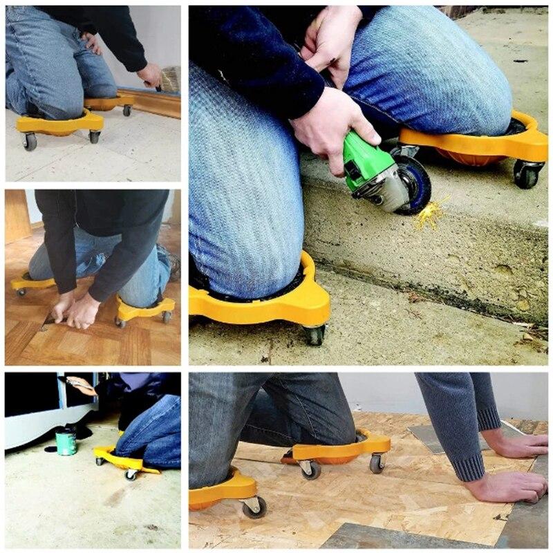 360° Knee Protection Pad With Built In Foam Padded Laying Platform Wheel Kneeling Pad Wheels Knee Cushion Work Blades