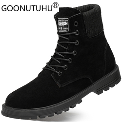 2019 autumn winter men's ankle boots casual suede leather army shoes male black snow boot man timber land military boots for men