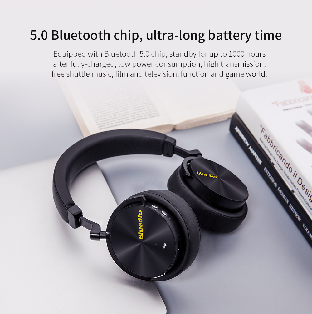 Bluedio T5 Bluetooth Active Deep Noise Reduction Headphones Wireless Binaural Stereo ANC Head Mounted Headset With Microphone - 3