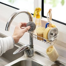 Stainless Steel Hot Sink Hanging Storage Rack Holder Faucet Clip Bathroom Kitchen Dishcloth Clip Shelf Drain Dry Towel Organizer(China)