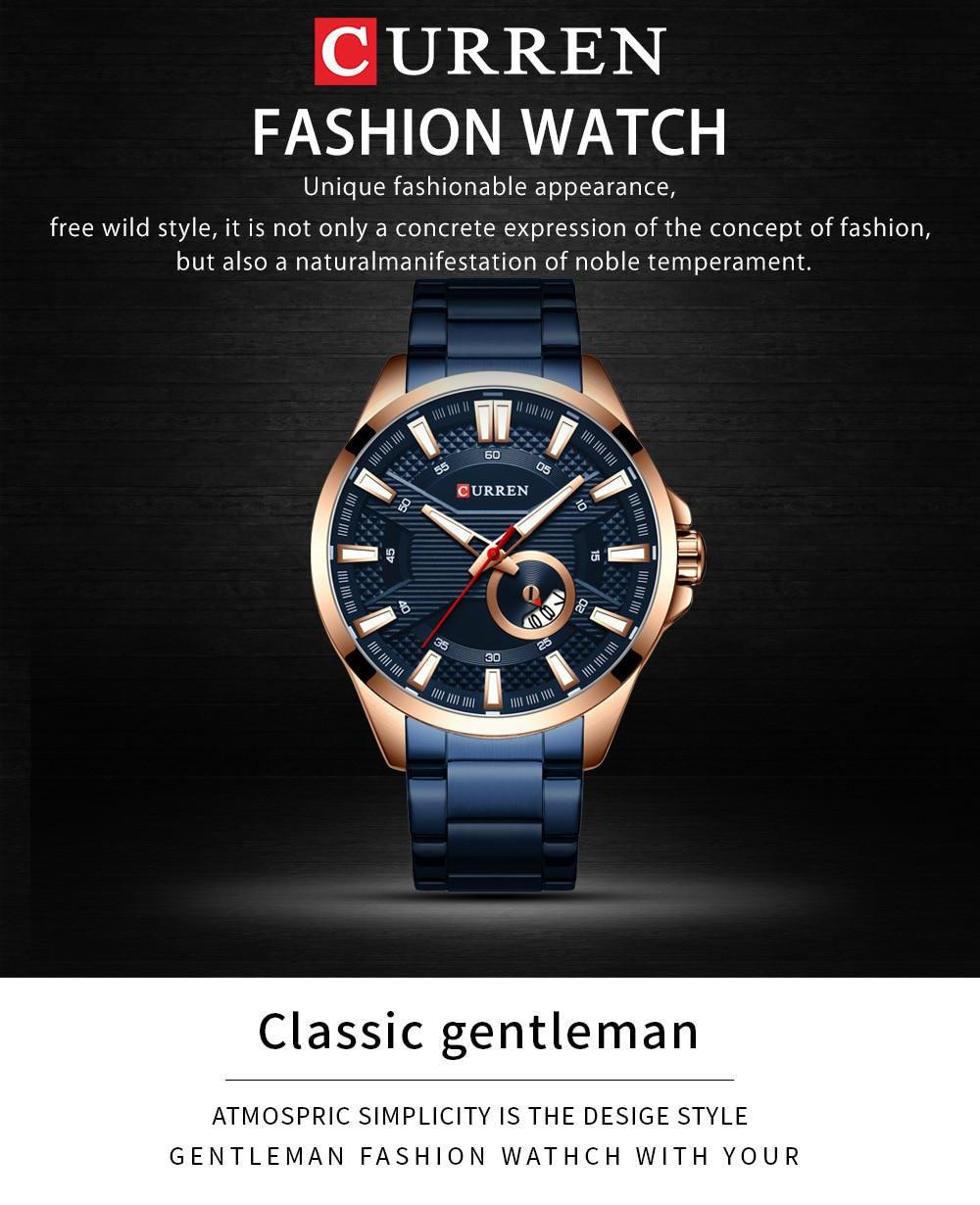 H2a6d1b7c1b8546098b22a171f25cb74ek New Stainless Steel Quartz Men's Watches Fashion CURREN Wrist Watch Causal Business Watch Top Luxury Brand Men Watch Male Clock