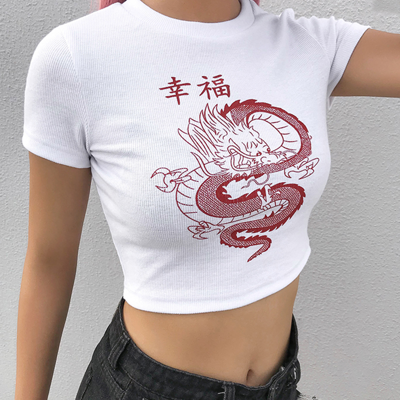 Rockmore White Chinese Character Dragon Print T Shirt Women Bodycon Casual Tshirt T-Shirt Femme Streetwear Tops Tee Shirt Summer 2