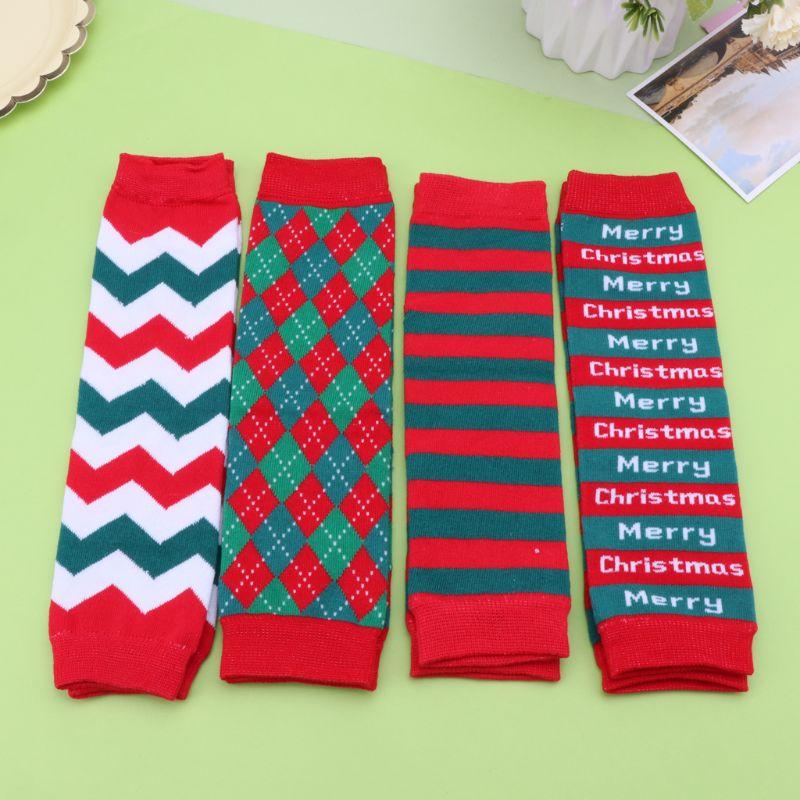 Christmas Baby Leg Warmers Girl Knee High Winter Knitted Leggings Toddler Boy Cotton Crawling Socks Newborn Stripe Kneecap Sock