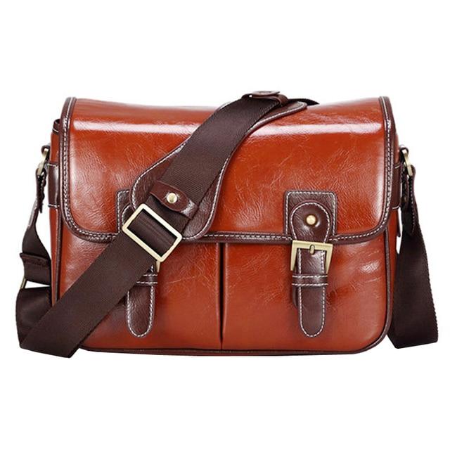 Luxury Camera Case Handbag Waterproof Shoulder Messenger Bag Fashion Retro PU Leather DSLR Case Gadget Bag for Sony Canon Nikon