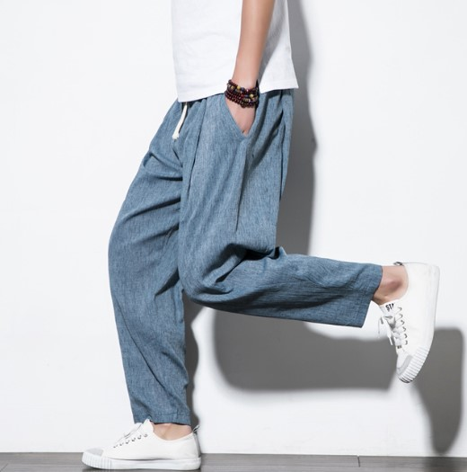 Plus Size Cotton Linen Harem Pants Mens Jogger Pants Male Casual Summer Track Pants Trousers