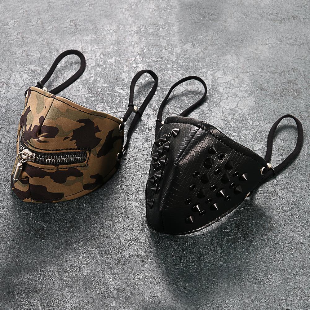 BONISKISS Camouflage Face Mask Outdoor Riding Zipper Leather Dustproof Outdoor Masks Men Women Face Shield