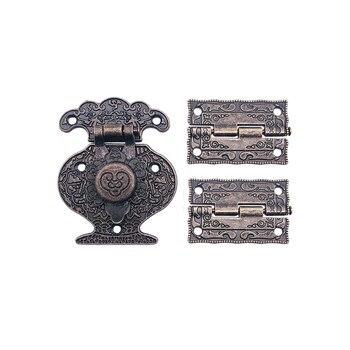 1Pcs Antique Bronze Padlock Lock Jewelry Wood Box Toggle Hasp Latch Clasp + 2Pcs Furniture Cabinet Hinges Vintage Hardware