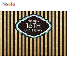 Happy 16th Birthday Backdrop Golden Black Stripe Custom Vinyl Photography Background For Photo Studio Photophone Photocall