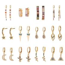 Трендовые золотые серьги-кольца Huggie для женщин, кубический цирконий CZ радужные длинные висячие серьги с кисточками, ювелирные изделия геометрического дизайна