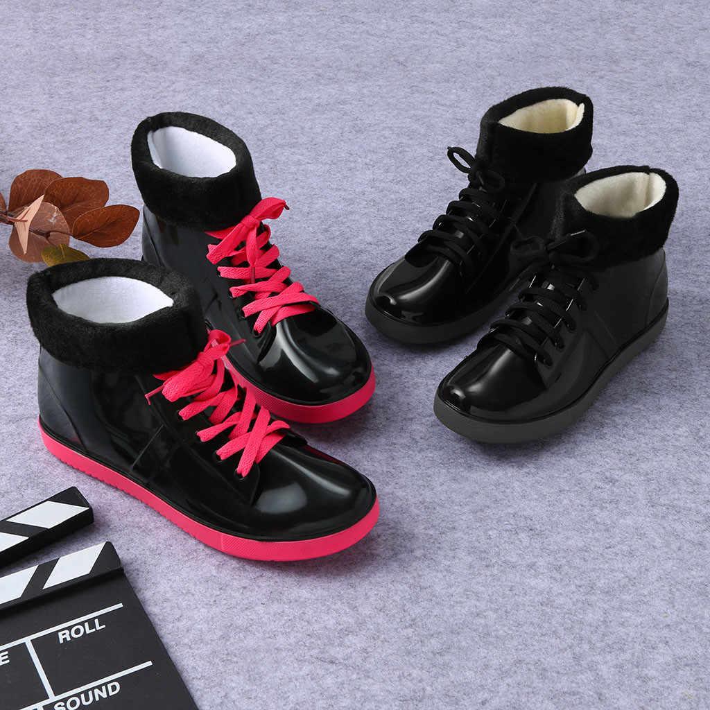 Bayan bayanlar kış sıcak rahat su geçirmez yağmur çizmeleri kısa ayak bileği bağcıklı ayakkabı