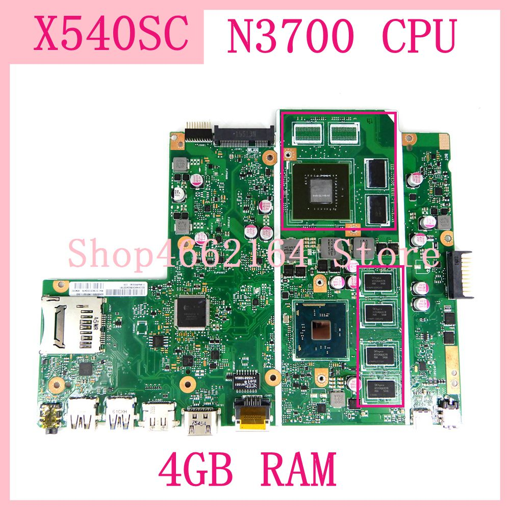 X540SC <font><b>motherboard</b></font> 4GB RAM N3700 CPU N15V-GL1-KB-A2 For <font><b>ASUS</b></font> X540SC X540S <font><b>X540</b></font> laptop mainboard 90NB0C10-R00010 Free Shipping image