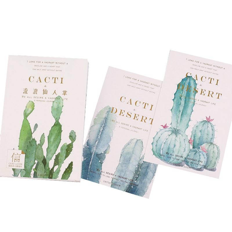 5packs/lot Kawaii Plant Cactus Business Cards Student Greeting Cards Postcard Stationary Birthday Postcard