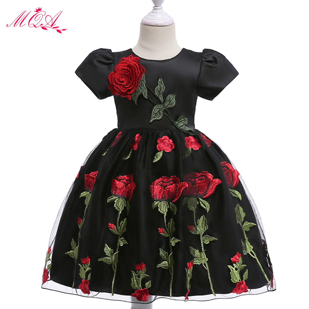 Europe And America New Style CHILDREN'S Dress Embroidered Rose Printed Princess Puffy Dress Flower Boys/Flower Girls Skirt
