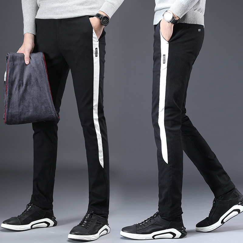 Winter Brushed And Thick Casual Pants Young MEN'S Slim Fit Elasticity Skinny Pants Korean-style Trend MEN'S Trousers