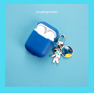 Image 4 - Cute Cosmic Astronaut spaceman Charlie Brown Dog metal keychain silicone case for Airpods 2 Bluetooth Earphone Accessories cover