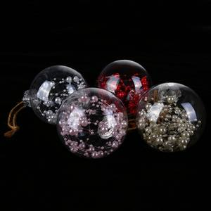 Delicate Christmas Decoration Ball Clear Christmas Balls With Pearl Rattan For Flower Window Hanging Christmas Tree 77