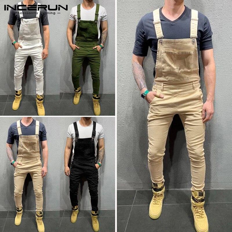 INCERUN Big Pockets Men Solid Color Suspender Jumpsuit Casual Joker Joggers Mens Overalls Playsuit Slim Fashion Bib Rompers