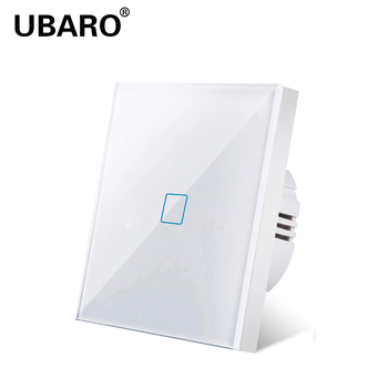 UBARO EU white crystal Glass Panel Lamp Wall Power Touch Switch 220V 1-Gang LED Light On Off Switches Controller  1-Way lson 1 way touch pad wall switch for light lamp white black