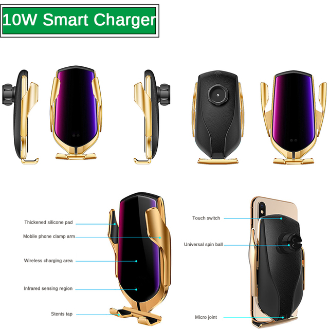 R1 Automatic Clamping 10W Wireless Car Charger For iPhone X Xs Huawei LG Infrared Induction Qi Wireless Charger Car Phone Holder 4