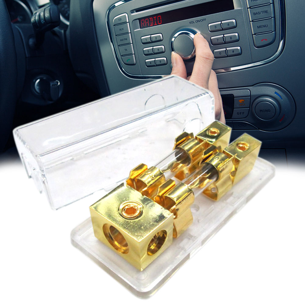 60A Universal Gold Plated With Shell Electronic Fuse Block Holder 1 To 2 Way Car Audio Automotive Stereo Mini Power Distribution
