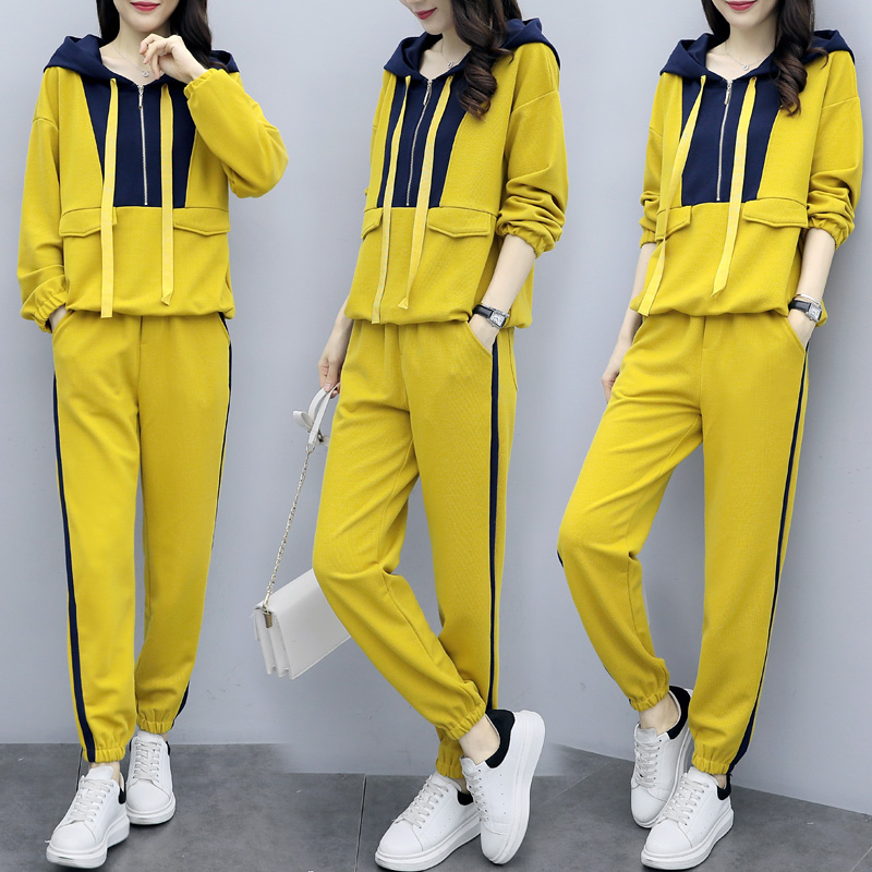 Plus Size Yellow Sport Two Piece Outfits Sets Tracksuits Women Hooded Sweatshirt And Pants Suits Casual Fashion Korean Sets 2019 28