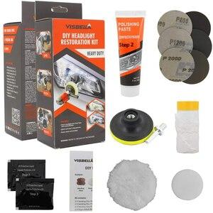 Image 5 - Kit de restauração de farol visbella, kit profissional de reparo de farol com iluminador e cuidados com o carro, lente para polimento limpo