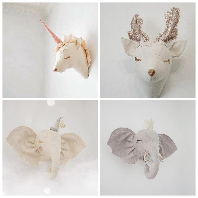 Kids Room Decoration 3D Animal Heads Elephant Unicorn Wall Hanging Decor For Children Room Nursery Room Decoration Soft Install