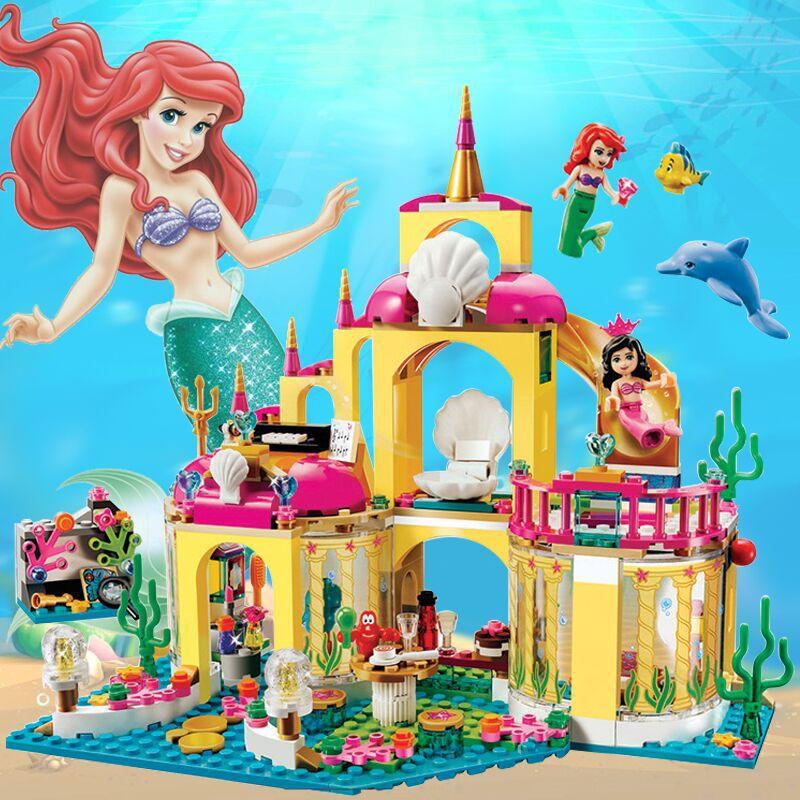 Girl Toys Mermaid Palace Princess Disney Building-Block Classic MG123 Suit Gift Undersea