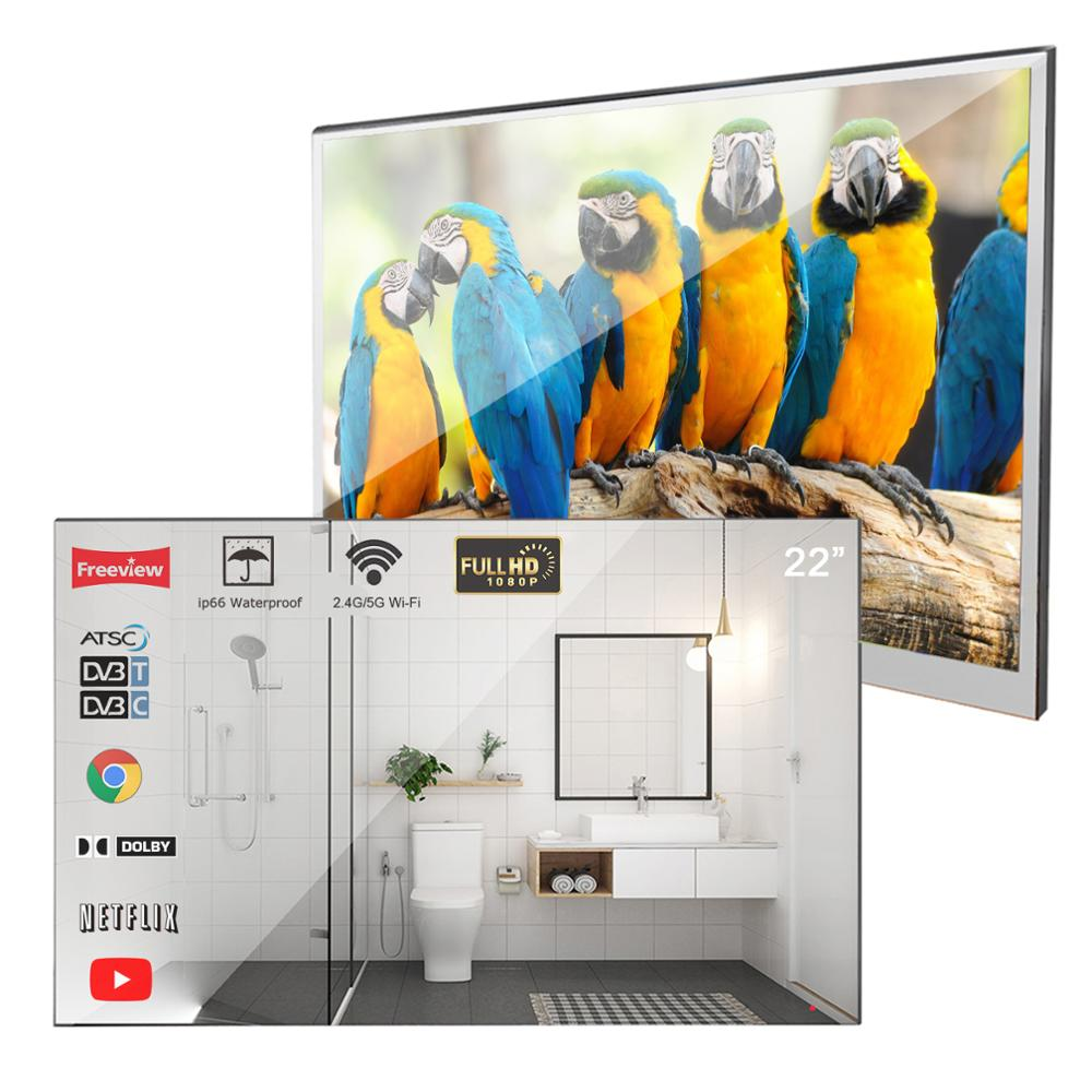 Souria Velasting 22 inches Magic Android 7.1 Mirror LED TV IP66 Waterproof Rated Bathroom Salon In Wall Flat Screen