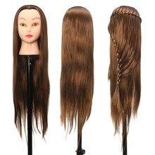 26 дюймов профессиональная головка для салонов высокотемпературная волоконная модель волос парикмахерский манекен+ зажим держатель