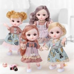 Новинка, шарнирная Кукла 16 см с 12 подвижными суставами, 1/12, «сделай сам», для девочек, платье с 3D глазами, фотоаксессуары с одеждой, обувью, Де...