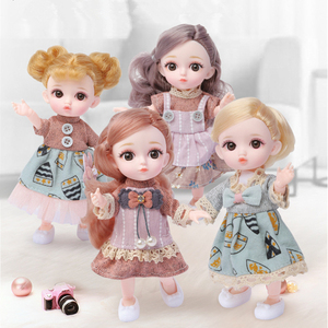 New 16CM Bjd Doll 12 Moveable Joints 1/12 DIY Girls Dress Up 3D Eyes Mini Doll Toy with Clothes Shoes Kids Fashion Birthday Gift(China)