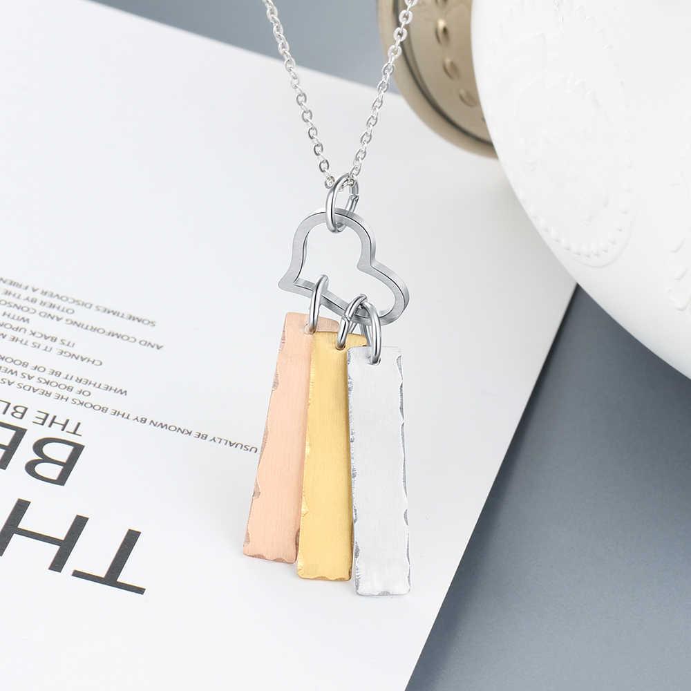 Kişiselleştirilmiş kazınmış kalp kolye kolye kadın paslanmaz çelik özel adı kolye zinciri anıt anne için hediye