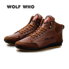 WOLF WHO New Men Leather Boots Fashion Winter Warm Cotton Brand Ankle Boots Lace