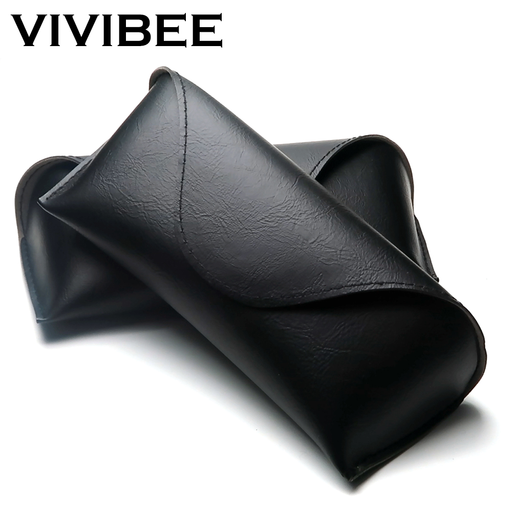 VIVIBEE Men Soft MagnetPU Leather Sunglasses Case Unsex Eyeglasses Box Women Black Spectacle Cases
