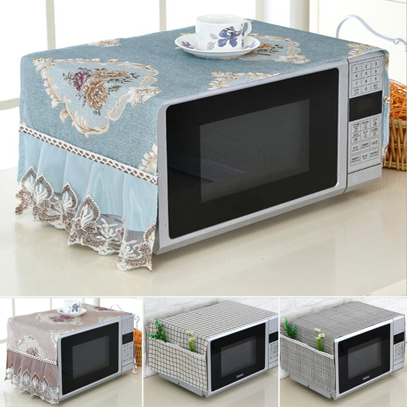 New Exquisite Microwave Cover Microwave Oven Hood Oil Dust Cover With Storage Bag Kitchen Accessories Supplies Home Decoration