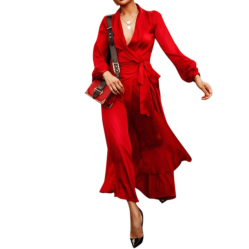 <font><b>Dresses</b></font> Woman Party Night Autumn Satin <font><b>Dress</b></font> Elegant Long Sleeve V-Neck Slim Boho Style <font><b>Sexy</b></font> <font><b>Dress</b></font> Plus Size <font><b>3XL</b></font> Women Clothing image