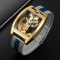 SHENHUA Men Watches Stainless Steel Mesh Band Automatic Mechanical Watches Men Hollow Transparent Watches Man Watch reloj hombre
