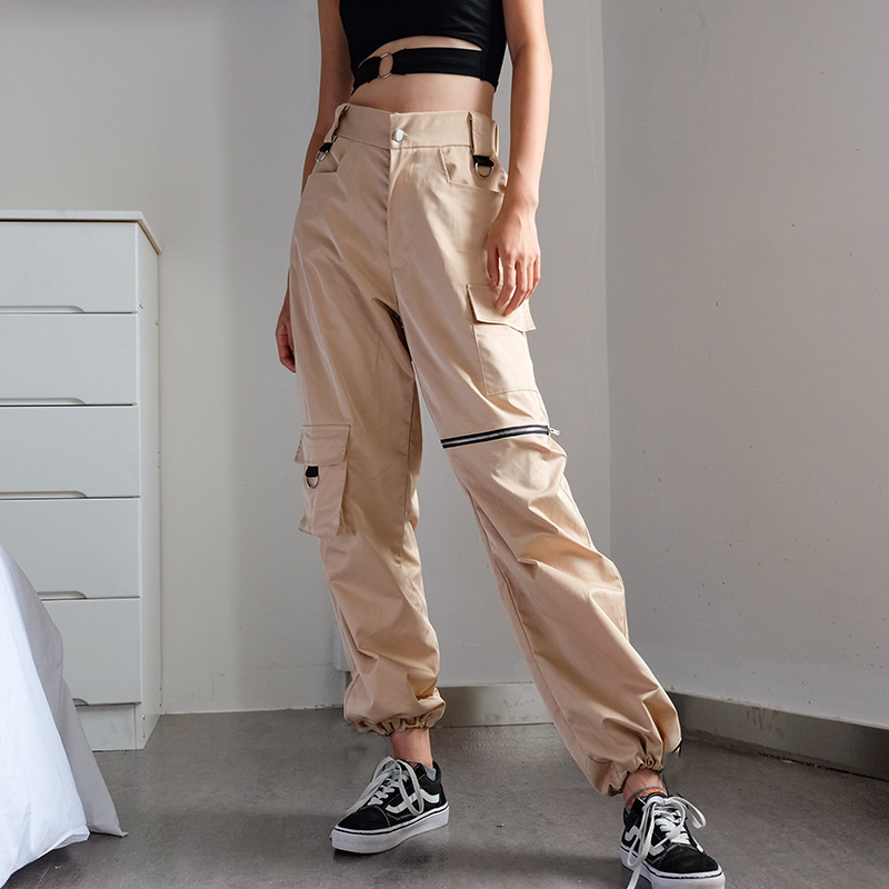 Women Cargo Pants High Waist Pants Loose Trousers Joggers Female Streetwear Sweatpants Pockets Knee Zipper Wide Leg Pants