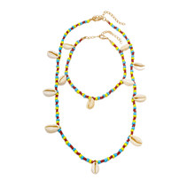 Necklace Shell Necklace Colored Rice Beads Anklet Sweater Chain Two Piece Necklace Jewelry(China)
