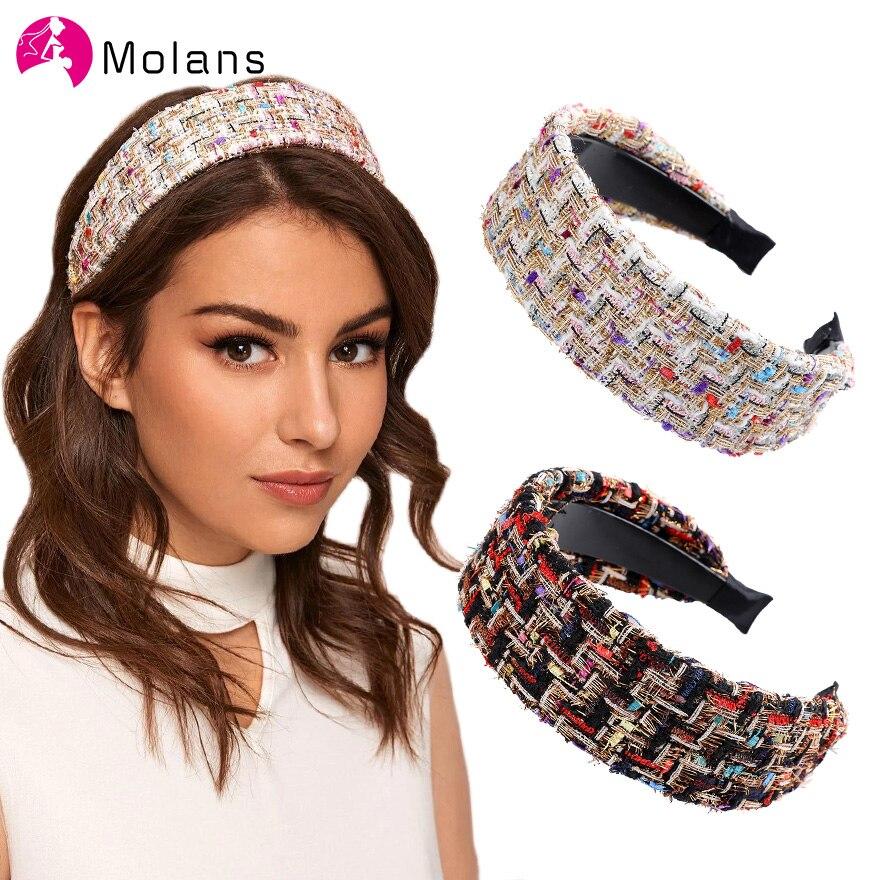 Korea Wide Tweed Headband Retro Elegant Plaid Headbands Spring Women Girls Hair Head Hoop Bands Hair Accessories Headdress