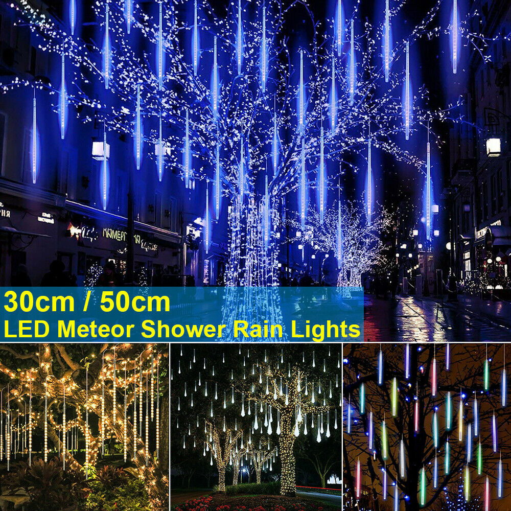 New Year 30/50cm Outdoor LED Meteor Shower Rain 8 Tubes LED String Lights Waterproof For Christmas Wedding Party Decoration