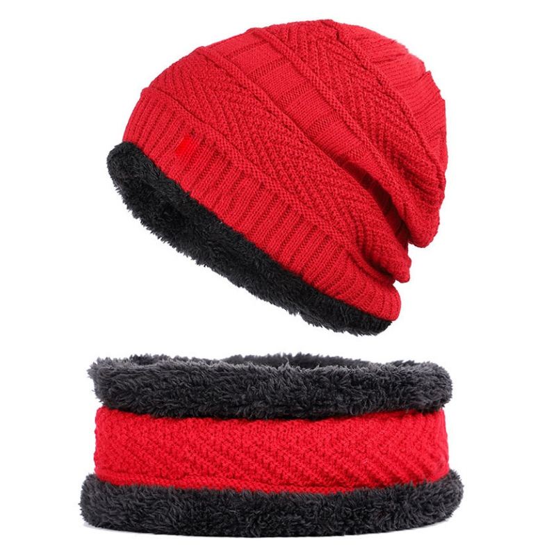 Unisex Knitted Hat Fashion Winter Thick Warm Fleece Lined Neck Warmer Scarf Set For Snowboard Skiing Skating